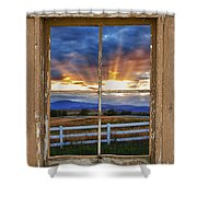 Rocky Mountain Country Beams Of Sunlight Rustic Window Frame Shower Curtain