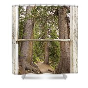 Rocky Mountain Forest Window View Shower Curtain