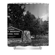 Rocky Mountain National Park Signage Shower Curtain