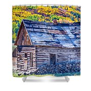 Rocky Mountain Rural Rustic Cabin Autumn View Shower Curtain