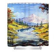 Rocky Mountain Stream Shower Curtain