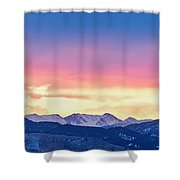 Rocky Mountain Sunset Clouds Burning Layers  Panorama Shower Curtain