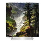 Rocky Mountain Waterfall Shower Curtain