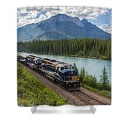 Rocky Mountaineer At Muleshoe On The Bow River Shower Curtain by Steve Boyko