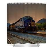 Rocky Mountaineer Sunrise Shower Curtain