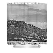 Rocky Mountains Flatirons And Longs Peak Panorama  2 Shower Curtain