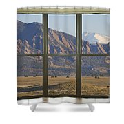 Rocky Mountains Flatirons With Snow Longs Peak Bay Window View Shower Curtain