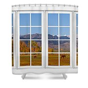 Rocky Mountains Horses White Window Frame View Shower Curtain