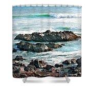 Rocky Ocean Shoreline One Shower Curtain