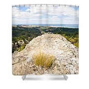 Rocky Outcrops Of Trotters Gorge Otago Nz Shower Curtain