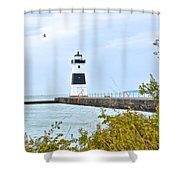 Rocky River Pier Shower Curtain