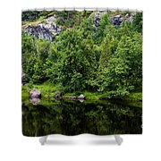 Rocky River Reflection Shower Curtain