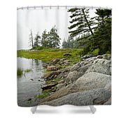 Rocky Shore By The Narrows To Mount Desert Island Shower Curtain