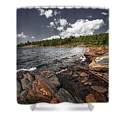 Rocky Shore Of Georgian Bay I Shower Curtain by Elena Elisseeva