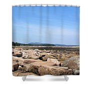 Rocky Shore To Rocky Mountain Shower Curtain
