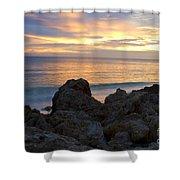 Rocky Shoreline At Sunset Shower Curtain