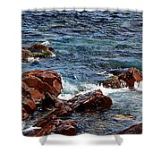 Rocky Shoreline - Coast -  Painterly Effects -  Panorama Shower Curtain