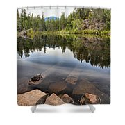 Rocky Shores At Swim Lake Shower Curtain