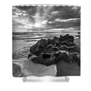 Rocky Surf In Black And White Shower Curtain