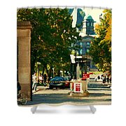 Roddick Gates Painting Mcgill University Art Students Stroll The Grand Montreal Campus C Spandau Shower Curtain