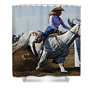 Rodeo Barrel Racer Shower Curtain