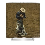 Rodeo Cowboy Dusting Off Shower Curtain