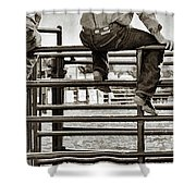 Rodeo Fence Sitters- Sepia Shower Curtain