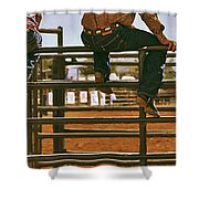 Rodeo Fence Sitters- Warm Toned Shower Curtain