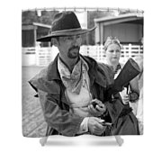Rodeo Gunslinger With Saloon Girls Bw Shower Curtain
