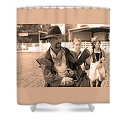 Rodeo Gunslinger With Saloon Girls Sepia Shower Curtain