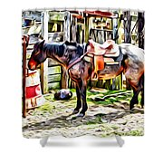 Rodeo Horse Three Shower Curtain