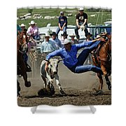 Rodeo Steer Wrestling Shower Curtain