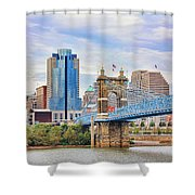 Roebling Bridge And Downtown Cincinnati 9850 Shower Curtain
