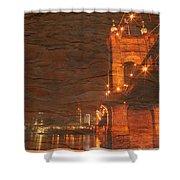 Roebling Bridge Stone N Wood Shower Curtain