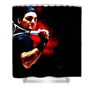 Roger Federer Tennis Shower Curtain by Lanjee Chee