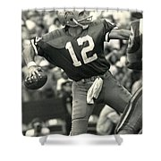 Roger Staubach Vintage Nfl Poster Shower Curtain by Gianfranco Weiss