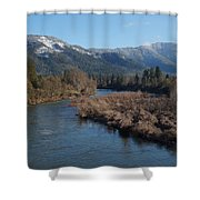 Rogue River And Mt Baldy In Winter Shower Curtain