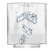 Roll Film Camera Patent From 1952- Blue Ink Shower Curtain