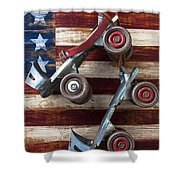 Rollar Skates With Wooden Flag Shower Curtain