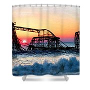 Roller Coaster After Sandy Shower Curtain by Tony Rubino