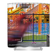 Rollercoasters At Amusement Park Shower Curtain
