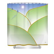 Rolling Hills - When The Skies Are Blue Shower Curtain