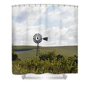 Rolling Plains Windmill Shower Curtain