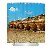 Roman Aqueduct From Mount Carmel 12 Km Away To Mediterranean Shore In Caesarea-israel  Shower Curtain
