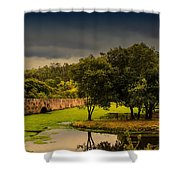 Roman Bridge By The Lake Shower Curtain