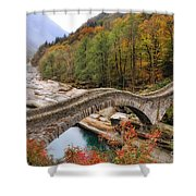 Roman Bridge In Autumn Shower Curtain