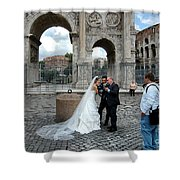 Roman Colosseum Bride And Groom Shower Curtain