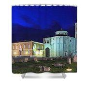 Roman Forum And St Donatus Church At Night Zadar Croatia Shower Curtain