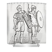 Roman Infantry Soldiers, After Figures On Trajans Column.  From The Imperial Bible Dictionary Shower Curtain