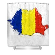 Romania Painted Flag Map Shower Curtain